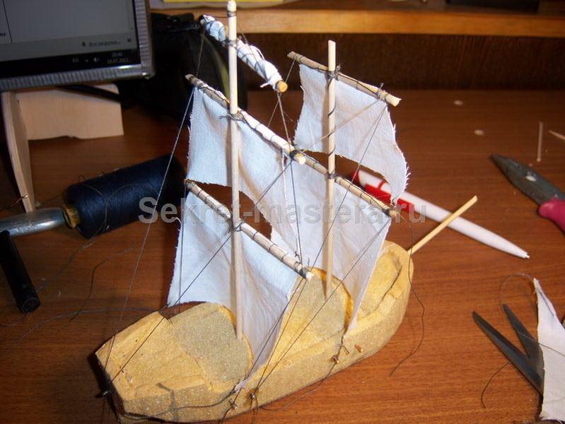 Судно корабль из пенопласта своими руками 8