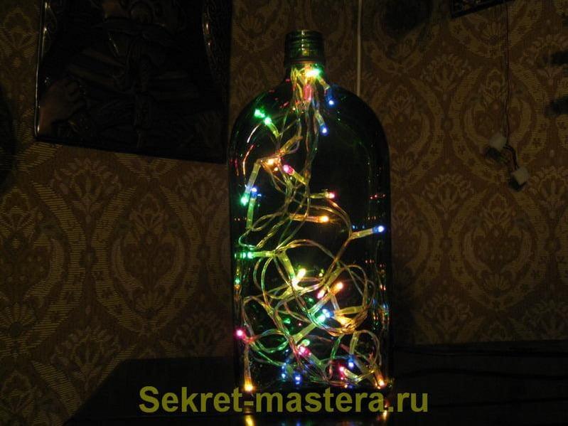 Ночники из бутылки своими руками 377