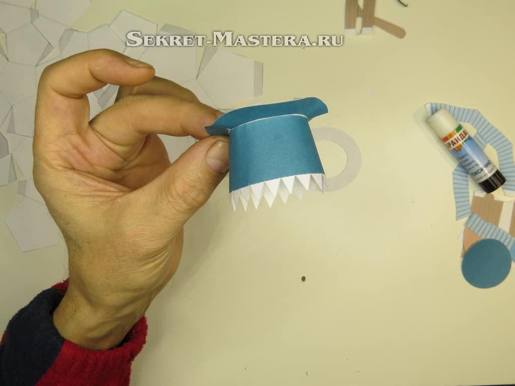 снеговик из модулей оригами схема в шляпе