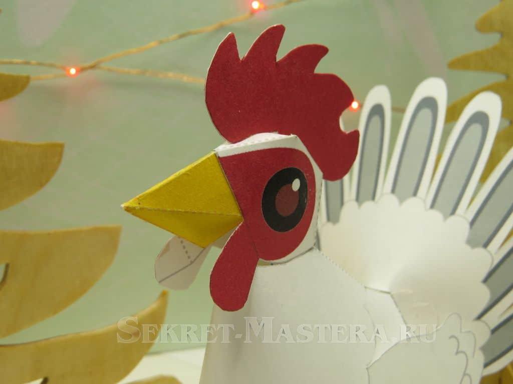Rooster18-1 Забавный петух из цветной бумаги