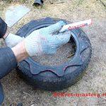 Как сделать клумбу Секрет Мастера из шин своими руками