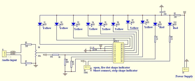 Схема индикатора звука на LM3915