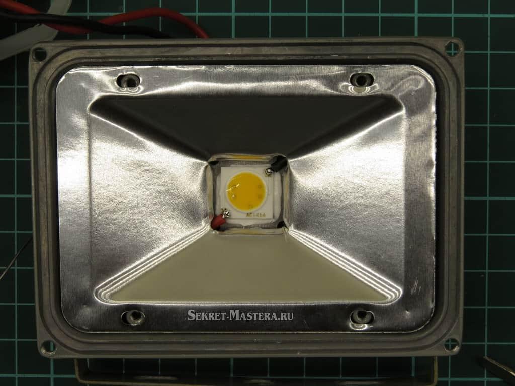 Установка отражателя на LED COB чип